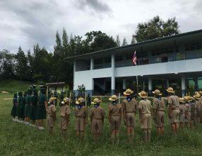 ฝึกระเบียบแถวลูกเสือ-เนตรนารีให้กับนักเรียนโรงเรียนน้ำตกห้วยสวนพลู